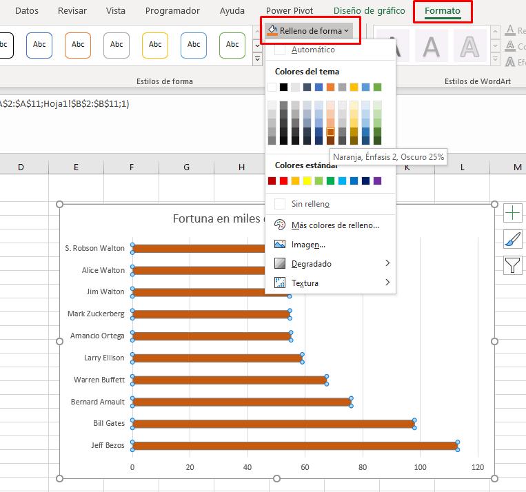 Cambiar color gráfico de barras en excel